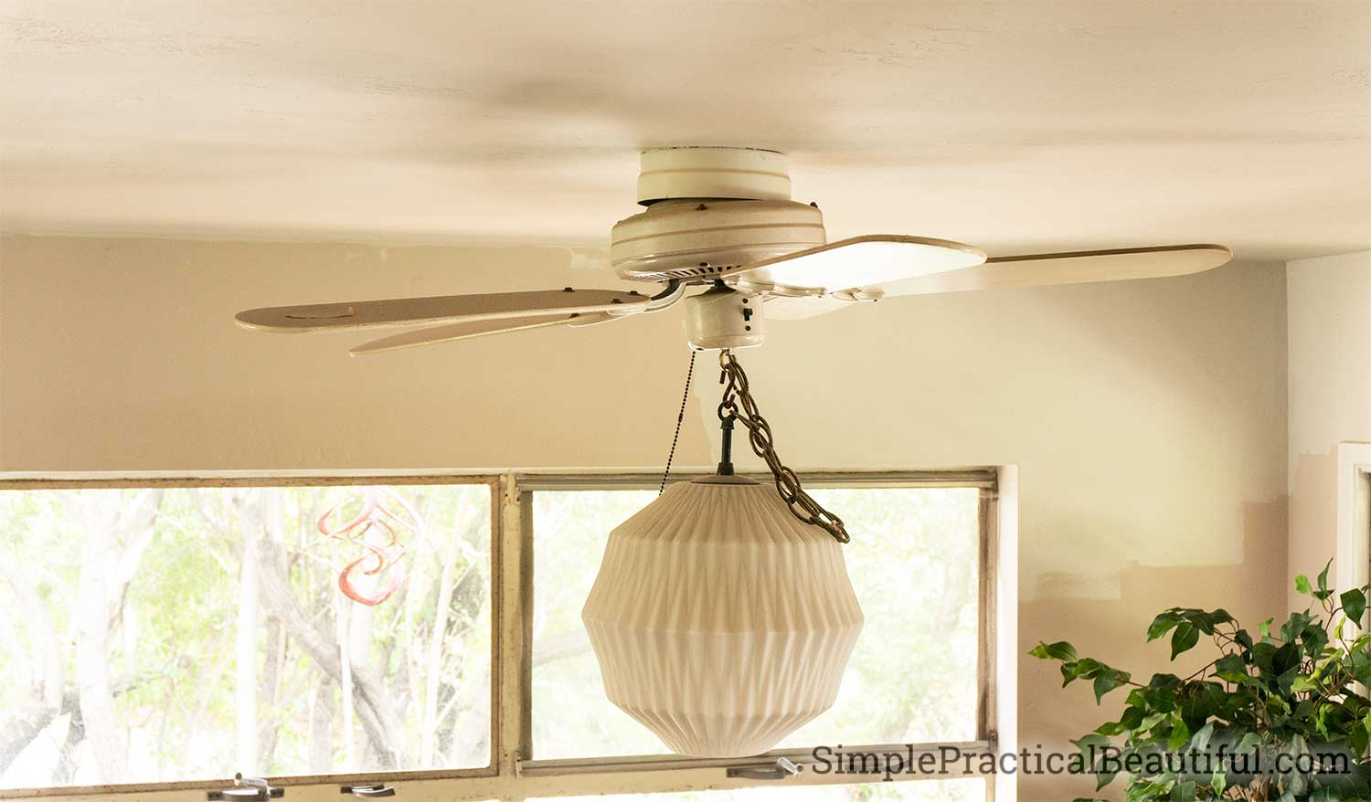 How to remove an old fan and light fixture and replace it with a new modern pendant light