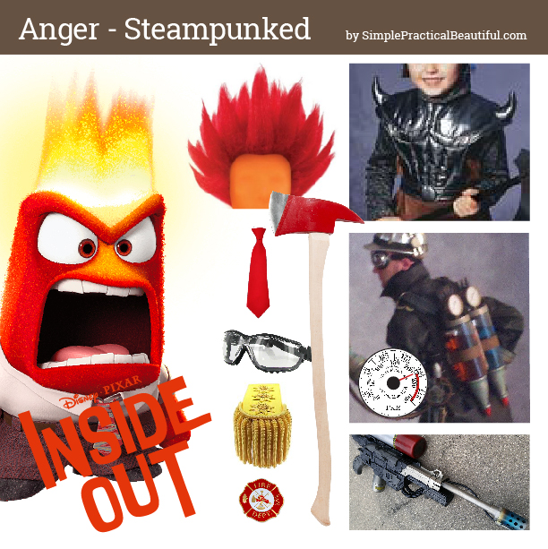 Disney bounding Anger from Inside Out in steampunk style mood board