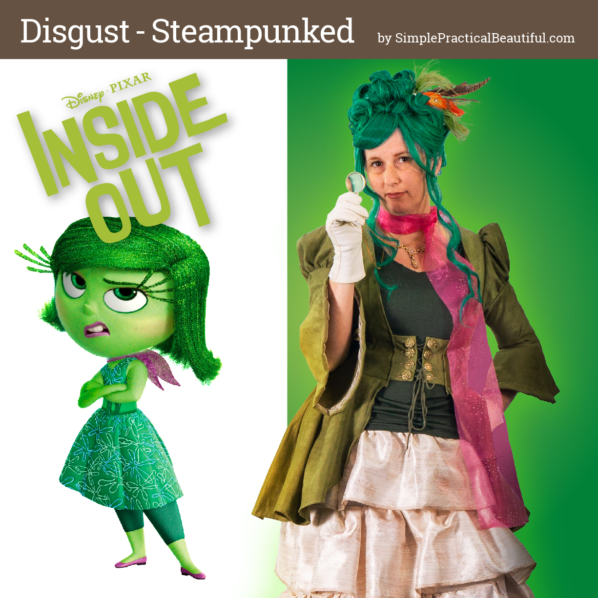 Disgust from Disney Pixar's Inside Out inspires a steampunk costume for cosplay