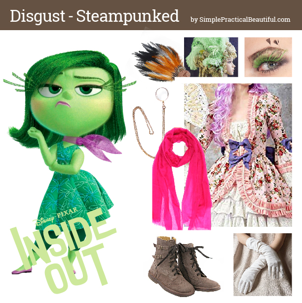 Disney bounding Disgust from Inside Out in steampunk style mood board