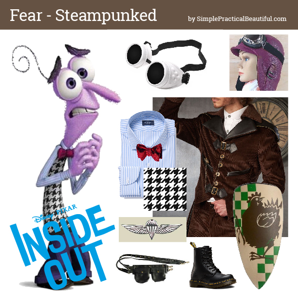 Disney bounding Fear from Inside Out in steampunk style mood board