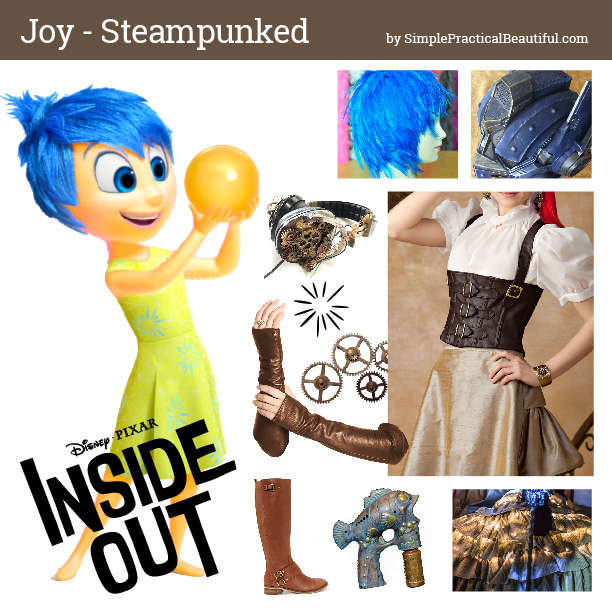 Disney bounding Joy from Inside Out in steampunk style mood board