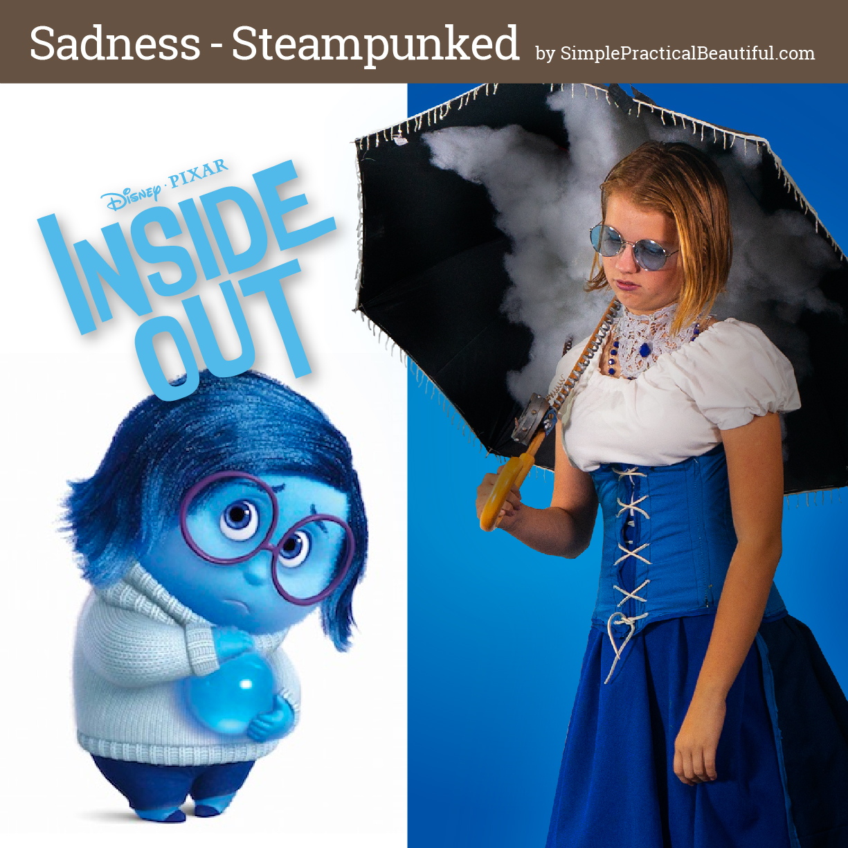 Sadness from Disney Pixar's Inside Out inspires a steampunk costume for cosplay