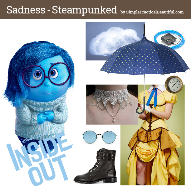 Disney bounding Sadness from Inside Out in steampunk style mood board