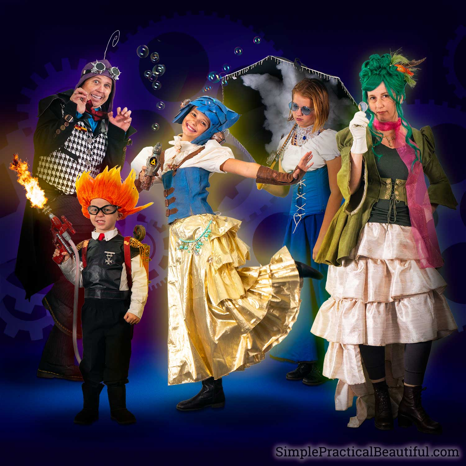 Inside Out family costume with steampunk style emotions Joy, Sadness, Fear, Anger, and Disgust