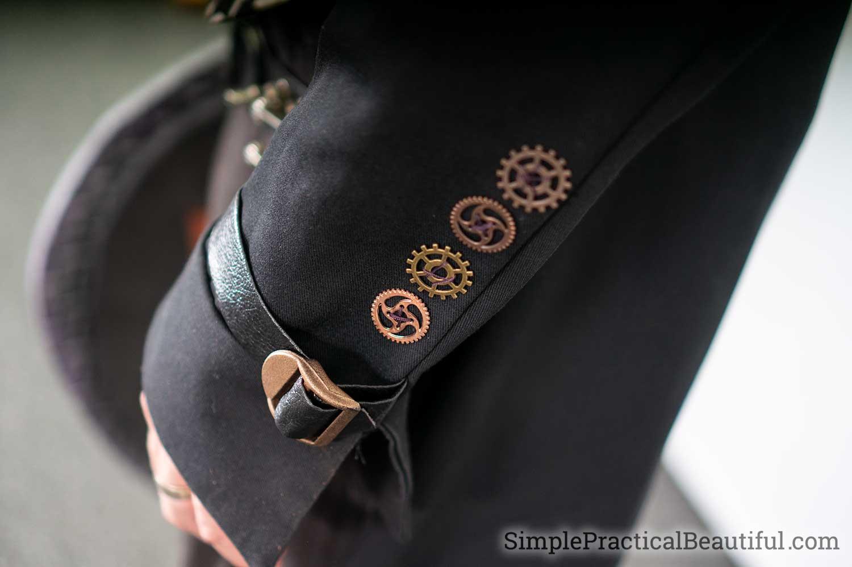Gear buttons make a steampunk jacket