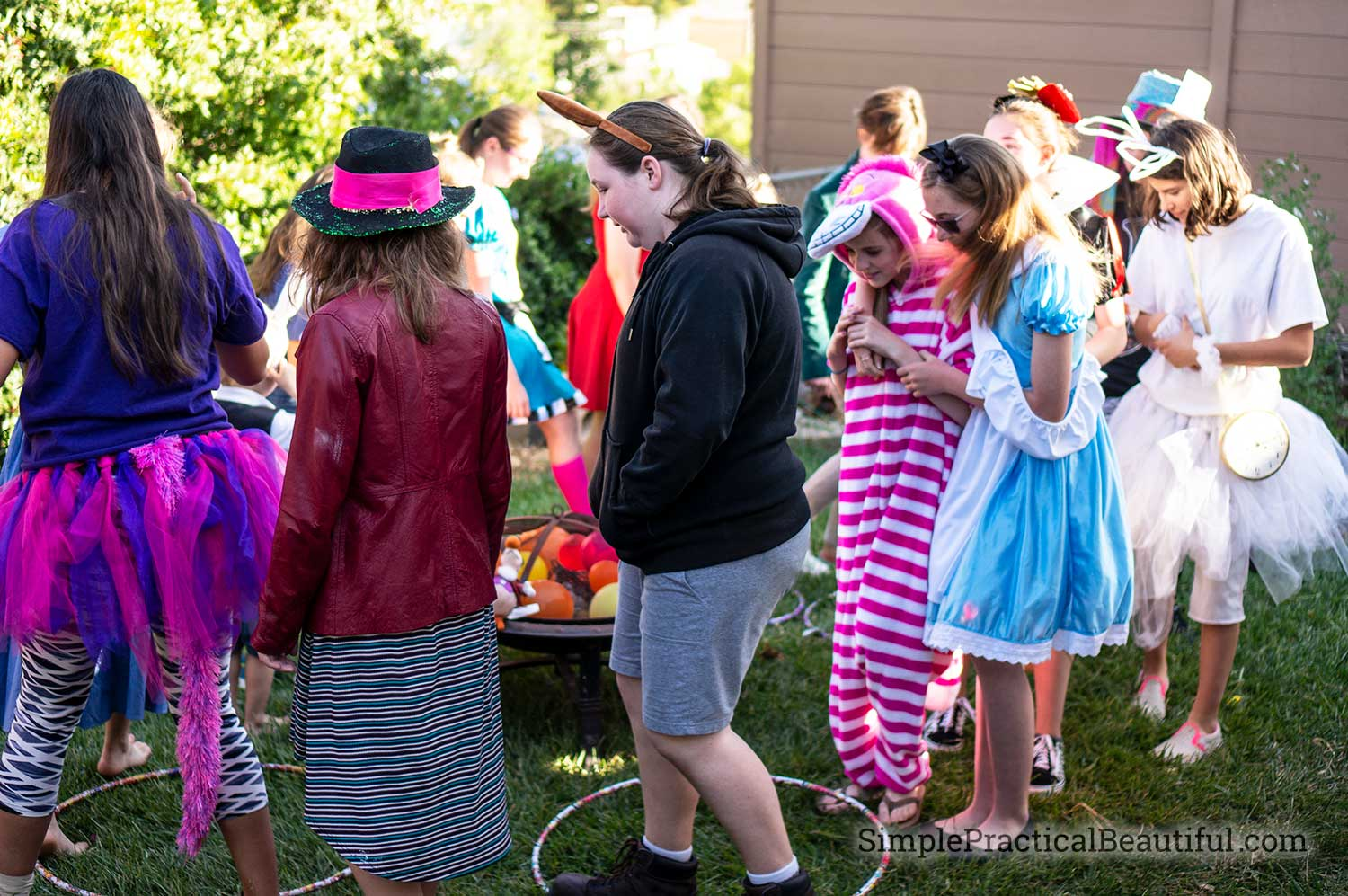Reverse musical chairs party game is perfect for a Caucus Race at an Alice in Wonderland party