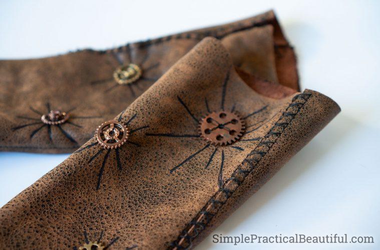 women leather steampunk wrist guards