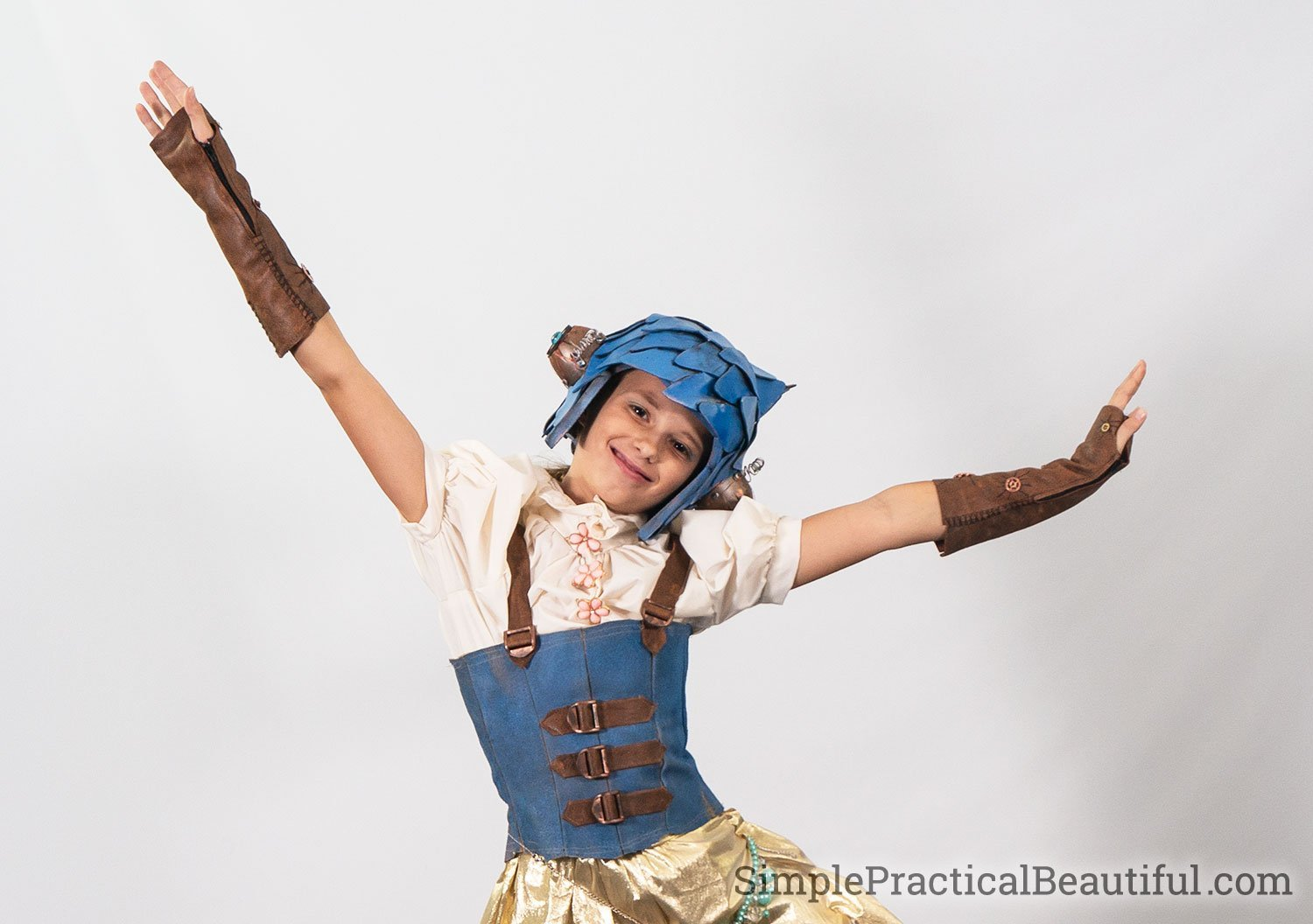 A steampunk cosplay costume with fingerless leather gloves