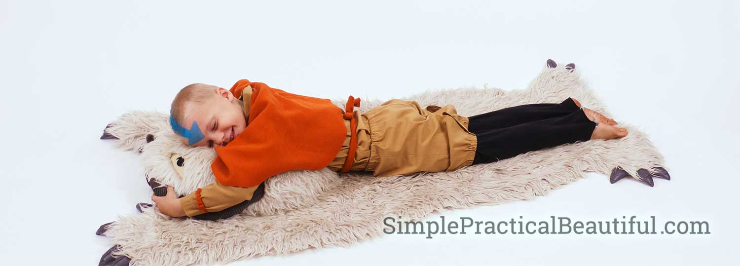 boy with Aang costume on an Appa rug