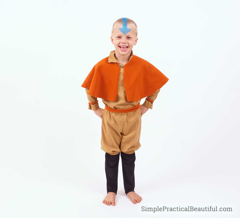 Aang costume on a little boy
