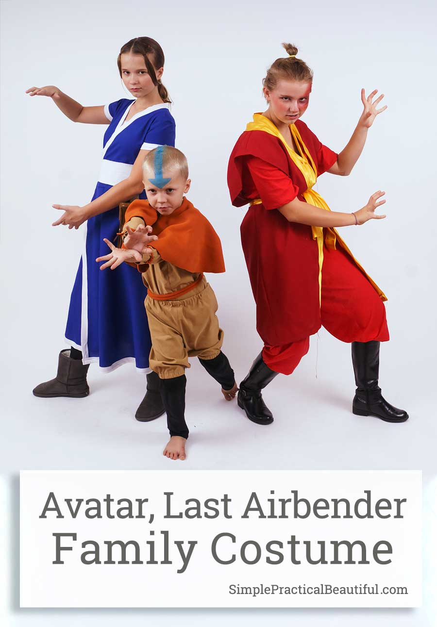 How to make simple costumes from Avatar the Last Airbender, the animated series. Ideas for costumes for characters Aang, Katara, Sokka, Zuko, and Toph